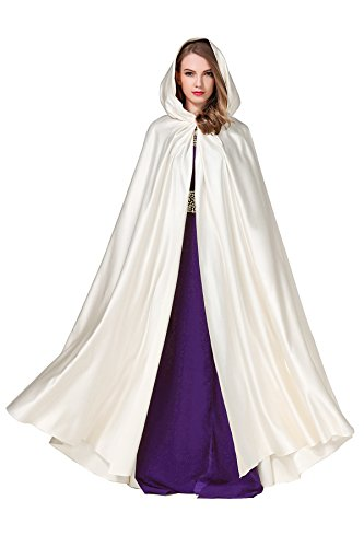 Women's Wedding Hooded Cape Bridal Cloak Poncho Full Length Light -
