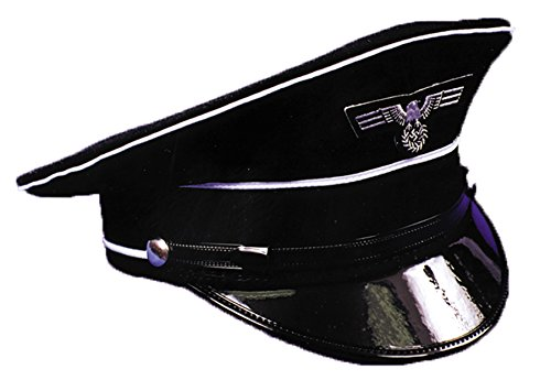 Officer Ladies German Costume (UHC Adult Men's German Officer Black Hat Cap Halloween Costume Accessory,)