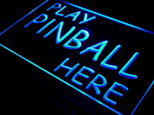 ADVPRO Cartel Luminoso s102-b Play Pinball Here Game Room ...