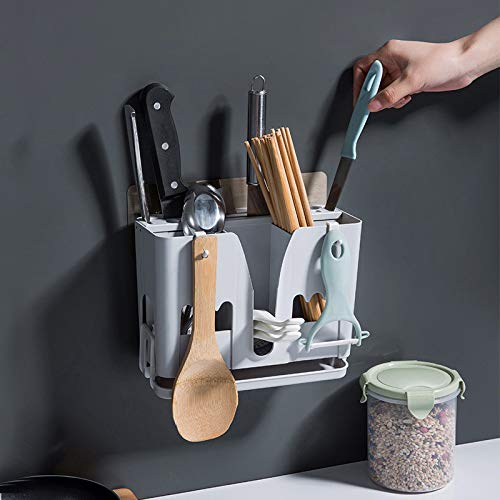 Gotian Kitchen Drying Holder Tray Wall Mounted Spoon Chopsticks Draining Storage Rack, Suitable for Kitchen/Home,Strong Load-bearing, Oil Proof, Waterproof, Keep the Table Dry (Blue) ()