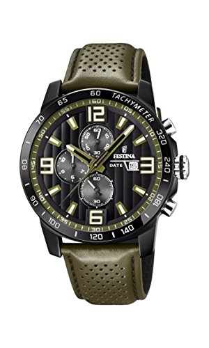 Festina 'The Originals Collection' Men's Quartz Watch with Black Dial Chronograph Display and Green Leather Strap F20339/2