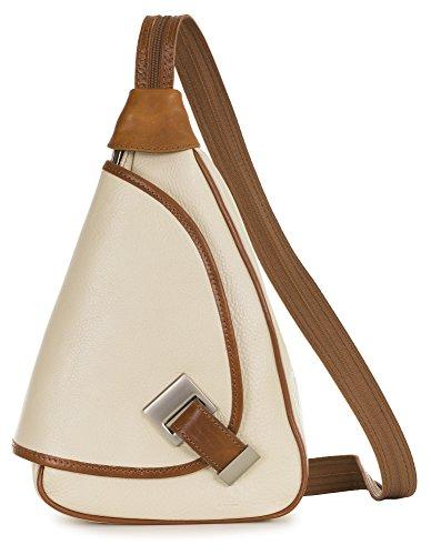 'Mila' de LiaTalia - 2en1 - Pequeño bolso de hombro para mujer ligero y convertible en mochila en auténtica piel italiana Crema - Borde Caramelo