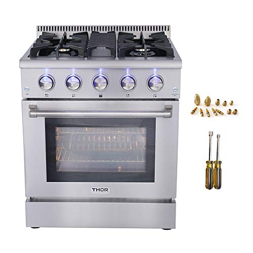 30″ Thor Kitchen Free Standing&Slide- in Gas Range 4 Burners 4.2cu.ft Oven Propane/NG With HRG3080U (HRG3080U+LP Kit HRG3080U)