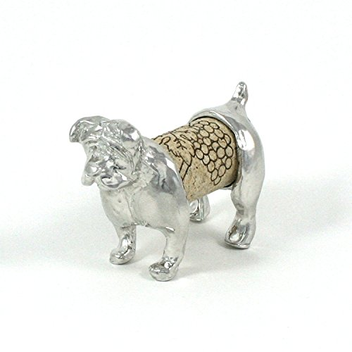 Bulldog Wine Cork Sculpture - Changeable Cork Display - Gift Boxed, Story Card- Handcrafted Pewter Made in USA