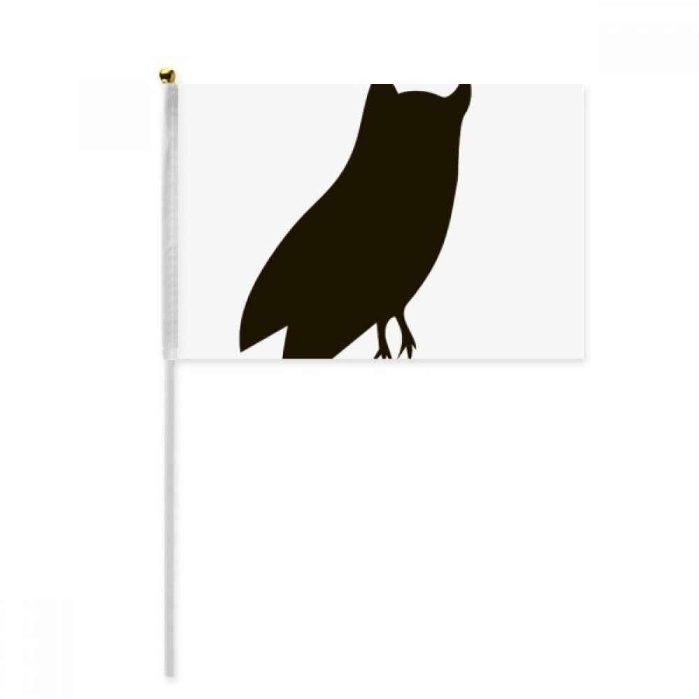 Black Owl Animal Portrayal Hand Waving Flag 8x5 inch Polyester Sport Event Procession Parade 4pcs