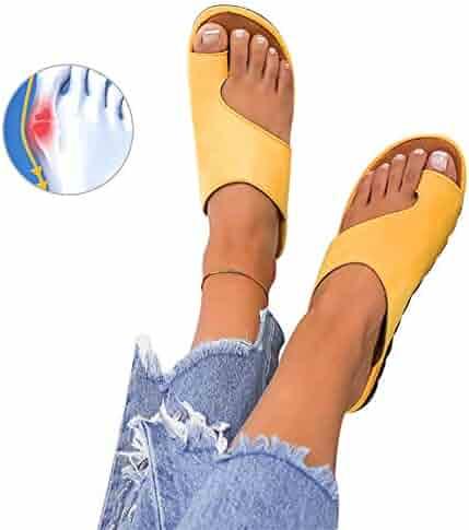 009f01d6b6 Athlefit Women's Comfy Bunion Shoes Platform Slipper Big Toe Slide Wedge  Sandals