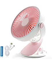 SMARTDEVIL Portable Desk Fan, Lower Noise, USB Rechargeable Battery Operated Fan with 3 Speeds, 2000Mah Battery for Home, Offical, Dormitory,Desktop,Table Fans,360 degree adjustment (Pink)