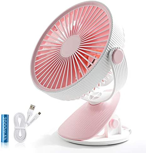 SmartDevil Battery Operated Clip on Fan for Stroller Home Office Camping Outdoors,Dual-use Portable 3-Speed Desktop Clip Fan, Rechargeable, Quiet Operation Pink
