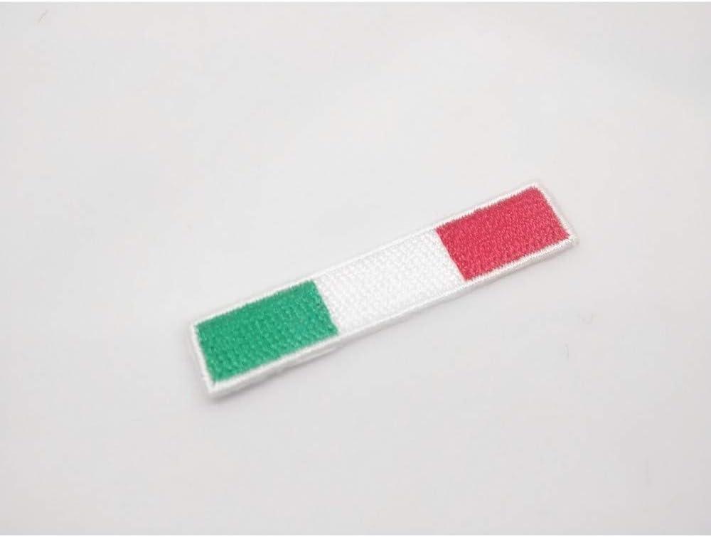 TOMASELLI MERCERIA Applicazione Termo Adesiva Ricamata Patch marbet Bandiera Italia Rettangolare 10x45 mm