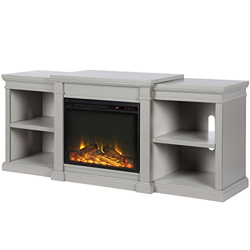 Ameriwood Home Manchester Fireplace TV Stand, Gray Gray (Electric Fireplace Tv Stand Gray)