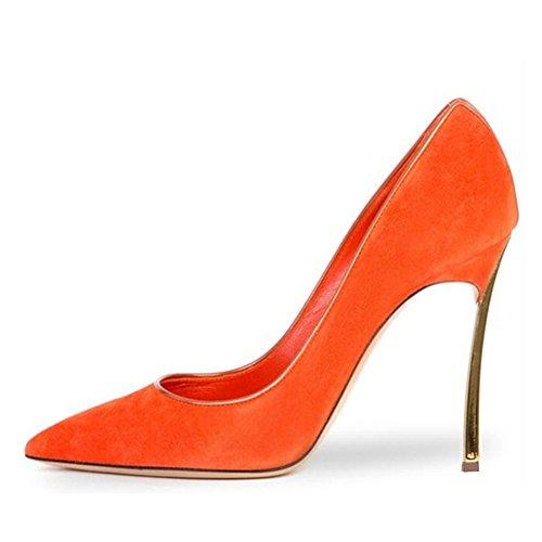 Stiletto Größe Spitze Heels Hochzeit Samt Onlymaker Party Pumps Rutsch Große Damen Zehen orange High UqEqwS8pI