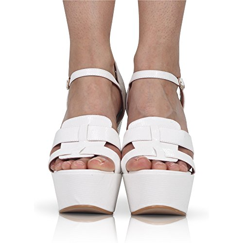 Strap PEEP Platform 8 Toe Demi New Womens Chunky Heel Shoes Wedge 3 HIGH White Size Pu Ankle CORE COLLECTION WxR0qYw7a
