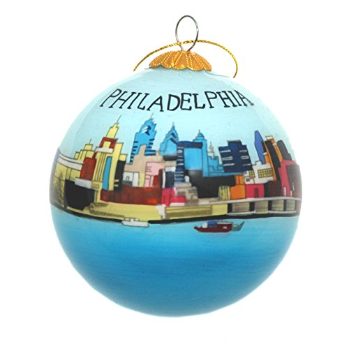 (Hand Painted Glass Christmas Ornament - Philadelphia, Pennsylvania Skyline)