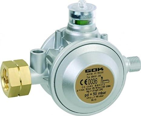 GOK Gewerberegler Kombi 50 mbar für bis zu 33 kg Gasflaschen, Variante:Mit Manometer