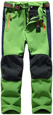 Daigou 5-10歳の子供用パンツ、子供男の子女の子ソフト風撥水呼吸暖かいスキースポーツパンツ、子供ファッション冬クリスマス登山ぬいぐるみ厚いパンツ服