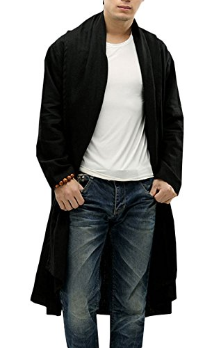 sual Linen Loose Shawl Collar Long Trench Coats Jackets Black (Collar Trench Coat)