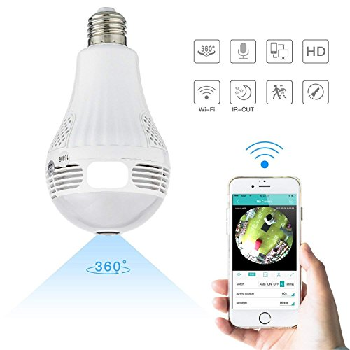 Bulb Camera with 1080P 360 Degree Fisheye Lens Wireless WiFi Panoramic IP Camera Hidden Cameras for Home Led Lights Bulb for Home Security System Android iOS APP, - Helper Camera