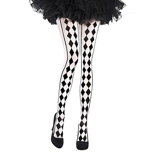 Black & White Harlequin Tights - Adult Standard