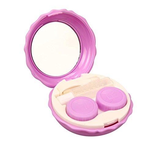 Mirror Contact Lenses (Transer Macaron Contact Lens Case Double Box Mini Beauty Pupil Rre Box (Purple))