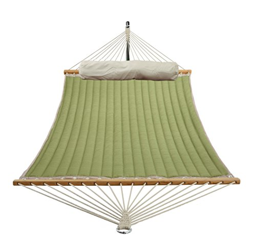 Patio Watcher 11 Feet Quilted Fabric Hammock with Pillow, Double Hammock with Bamboo Wood Spreader Bars, Perfect for Outdoor Patio Yard, Lime Green by Patio Watcher