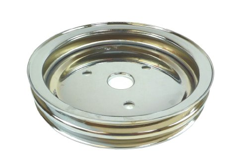 Racer Performance Chevy Small Block Chrome Steel Crankshaft Pulley - Short (2 Groove)