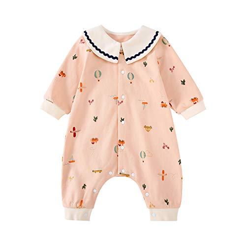 pureborn Baby Girl Jumpsuit Coverall Pajamas Onesie Long Sleeve Peter Pan Collar Cute Pink 9-12 Months