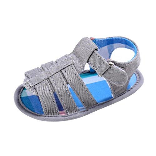 OverDose Baby-Kind-Kind-Mädchen-Jungen-Weich Sohle Canvas Krippe Kleinkind Newborn Sandalen Schuhe (0-18Monate) Grau