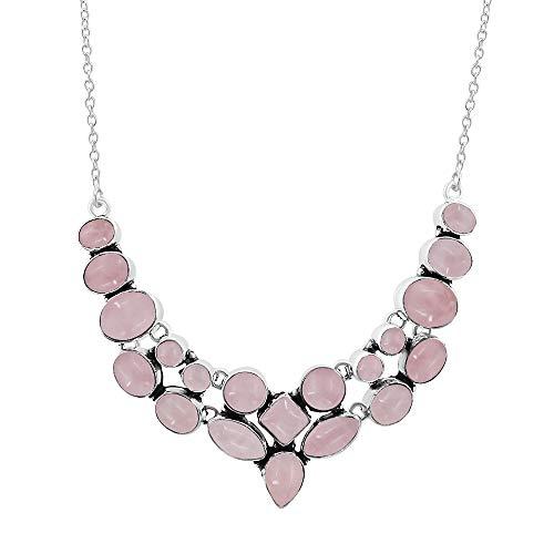 (Natural Multi Shape Rose Quartz Necklace 925 Silver Overlay Handmade Vintage Style Fashion Jewelry for Women Girls )