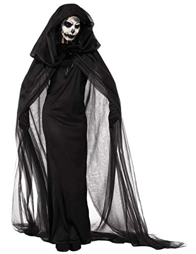 Mysterious Halloween Costume Ideas (Women's Halloween Black Witch Costume Black Ghost Bride Zombie Vampire Dress Cloak Cape Night Wandering Soul Long)