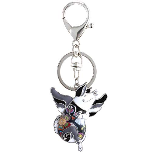 Luckeyui Black Pig Keychain Gift for Women Unique Enamel Pets Lovers ()