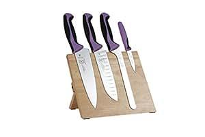 Mercer Culinary M21980PU Millennia Magnetic Knife Board Set, Purple
