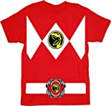 Power Rangers Red Ranger Costume Red Adult T-Shirt Tee, Medium