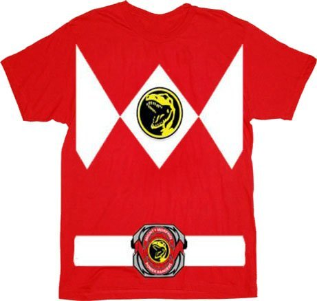 [Power Rangers Red Ranger Costume Red Adult T-Shirt Tee, Large] (White Ranger Adult Costumes)