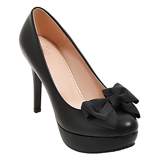 Charm Foot Womens Sweet High Heel Bows Pumps Shoes Black