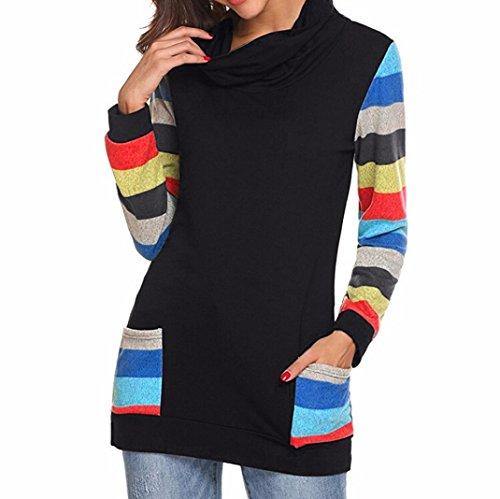 iTLOTL Womens Color Block Striped Blouse Long Sleeve Cowl Neck Patchwork Pocket Top(Black,US-14/CN-2XL) ()