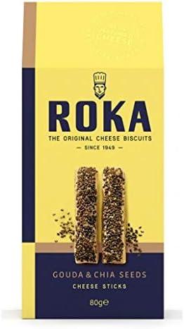 Roka - Sticks de queso Gouda y semillas de chia 80 g - Caja de: 12 unidades: Amazon.es: Alimentación y bebidas