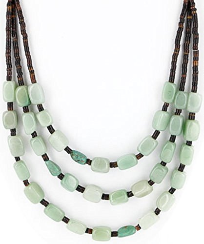 entic 3 Strand Silver Navajo Turquoise and Jade Native American Necklace ()
