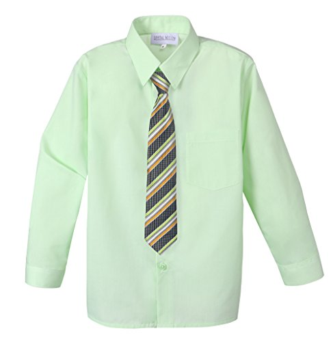 Spring Notion Big Boys' Cotton Blend Dress Shirt and Tie Set 6 Pastel Green