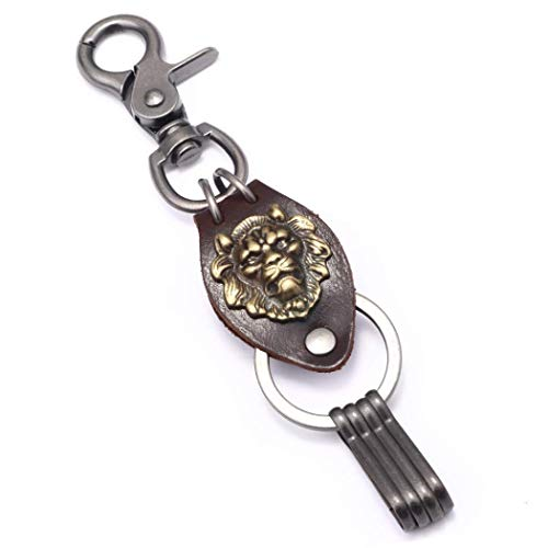 WaNana Lion Key Chain(with 4 Extra Key Rings) Heavy Duty Key Buckle Quick Detach Leather Belt Keeper Key Ring Organizer with Easy Clasp Key Gold