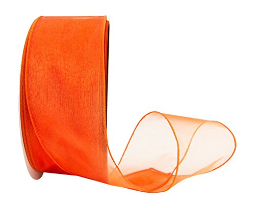 Ribbon Bazaar Wired Sheer Organza 2-1/2 inch Orange 50 Yards Ribbon