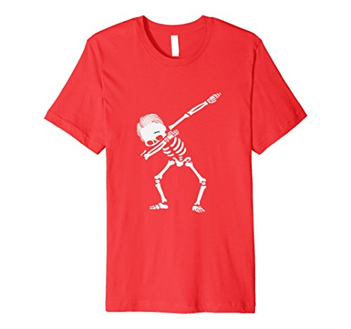 Men Costumes Red Halloween Hair Ideas (Mens Dabbing Skeleton Hairstyle T-Shirt - Premium Halloween Tee 2XL)