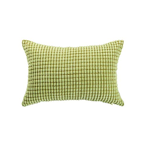 - uxcell Throw Pillow Cover,Velvet Cushion Cover Comfortable Soft Corduroy Corn Striped Pillow Case for Sofa Bed Car(12 x 18 Inch,Light Green)