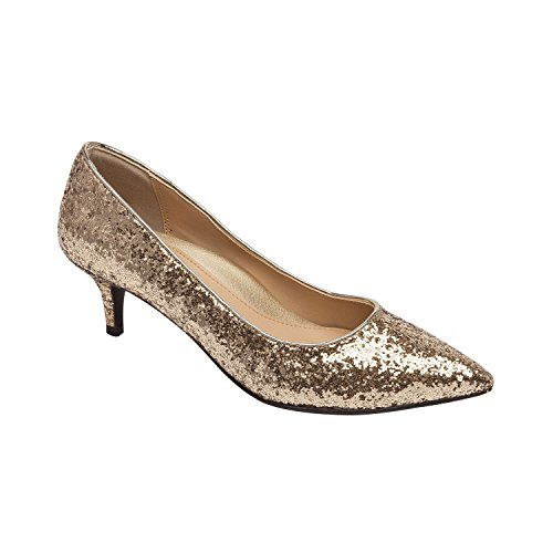 Pic & Pay Lori | Vegan Pointy Toe Low Kitten Heel Pump Comfortable Insole Padded Arch Support (New Fall) Gold Glitter 8M
