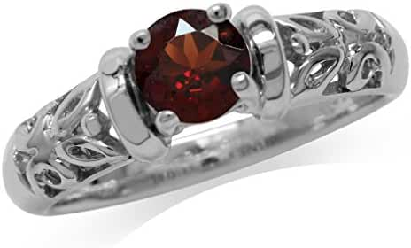 Natural Garnet White Gold Plated 925 Sterling Silver Filigree Solitaire Ring
