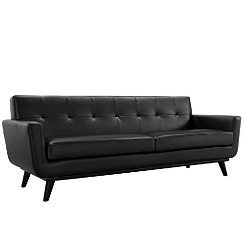 Modway Engage Bonded Leather Sofa in Black