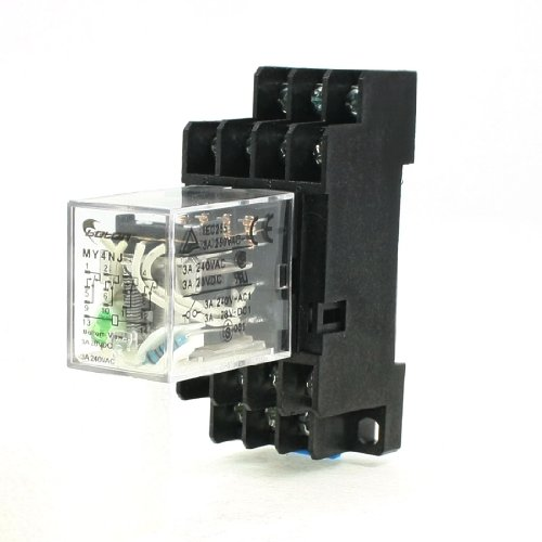 Uxcell MY4NJ DC 24V Coil 3 Amp 14 Pin 4PDT 4 NO 4 NC Electromagnetic Relay with Base Socket