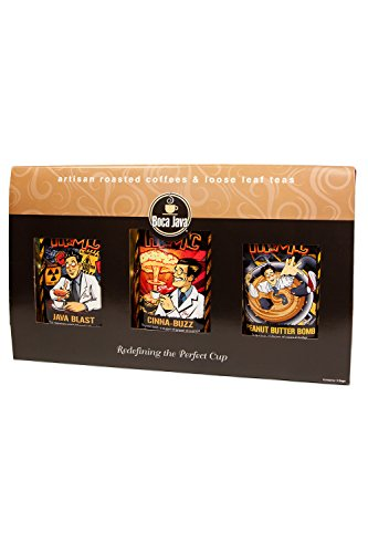 Atomic Extra Caffeine Coffee Gift Box 100% Specialty Arabica (Never Robusta), Flavored Coffees, 50% Extra Caffeine, 0 Calories, Ground, 8oz (Pack of 3) ()