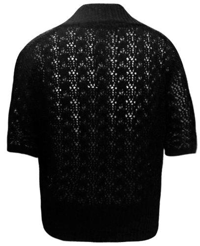Plus para mujer Oromiss para mujer de ángel y con balón de ganchillo encogimientos de hombros Pack de tamaños de punto de los Cardigans talla 16-32 negro