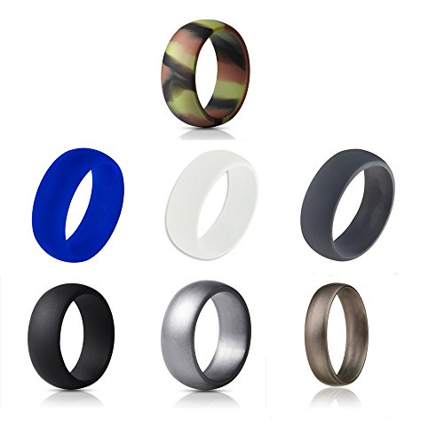 Silicone Wedding Ring For Men/Women, Active Athletes, Non-toxic Rubber Band-4 Pack, 7 Pack&10 Pack (Black, Blue, Bronze, Camouflage color, Grey, Silver, White, - Grey Color Bronze