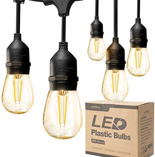 addlon LED Outdoor String Lights 48FT with 2W Dimmable Edison Vintage Plastic Bulbs and Commercial Grade Weatherproof Strand - UL Listed Heavy-Duty Decorative LED Café Patio Light , Porch Market Light